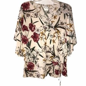Naïf Floral Blouse with Cape Sleeve - Size Large